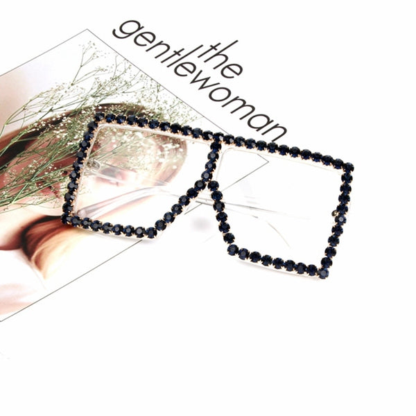 Oversize Rhinestone Transparent  fashion Sunglasses