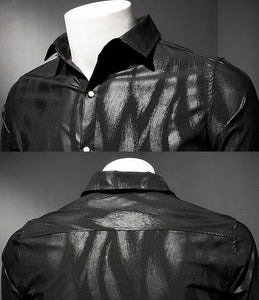 Print Vertical Stripe Shirt Men Black Shirt Men Logn Sleeve Slim Fit Elegant Shirt Mens Prom Party Club Shirt Button Down 5xl - kats closet1