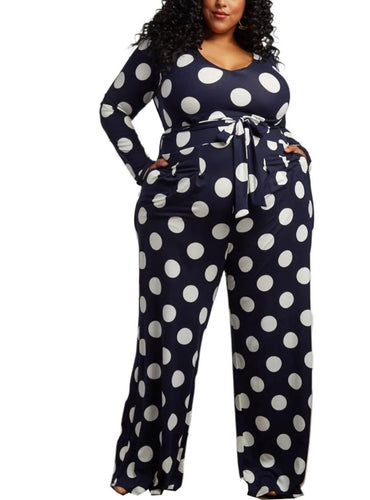 Plus Size Dot Print High Waist Sashes Straight Long Sleeve Jumpsuit