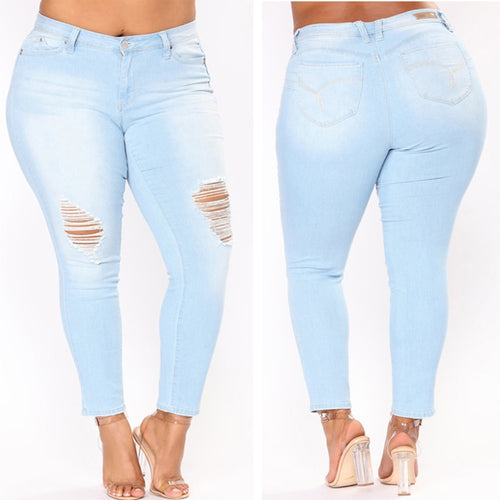 Plus Size High Waist Skinny Pencil Blue Denim Jeans - kats closet1