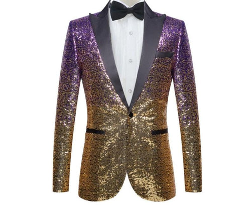 Stylish Gradual Change Gold Purple, Blue Pink And Green Sequins Suit Jacket