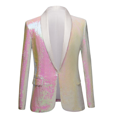 Pure White Pink Sequins Gentleman Slim Fit Blazer