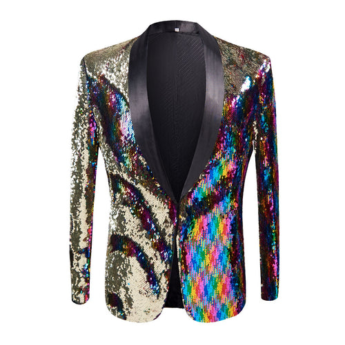 Stylish Gold Colorized Double-Color Sequins Wedding Blazer