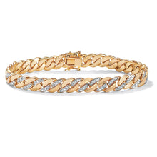 Load image into Gallery viewer, Men's 18k Yellow Goldplated Diamond Accent Curb Link Bracelet - kats closet1