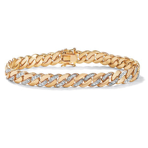 Men's 18k Yellow Goldplated Diamond Accent Curb Link Bracelet - kats closet1