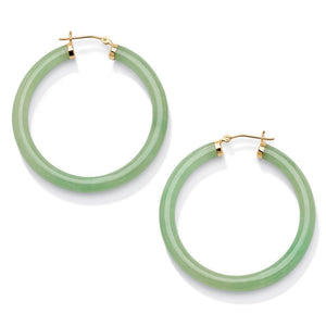 Genuine Green Jade 10k Yellow Gold Hoop Earrings Naturalist - kats closet1
