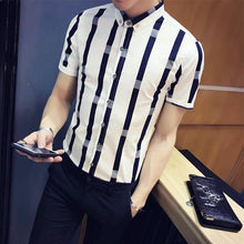 Load image into Gallery viewer, Pattern Stripe Short Sleeve Slim Fit Formal Shirt