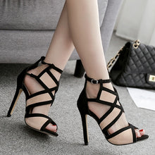 Load image into Gallery viewer, Peep Toe High Heels Ankle Strap Stiletto Shoes