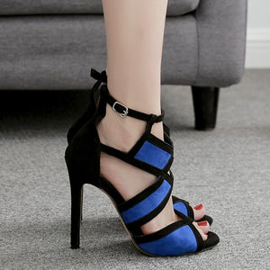 Peep Toe High Heels Ankle Strap Stiletto Shoes