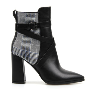 Perixir Women Winter PU Cotton Fabric Ankle Boots Plaid Pattern Short Plush Pointed Toe Basic Square Heel Ankle Short Boots