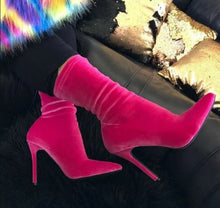 Load image into Gallery viewer, Velvet Sock Pointed Toe Stiletto Heel Ankle Boots