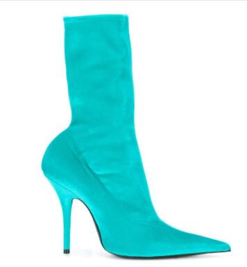 Velvet Sock Pointed Toe Stiletto Heel Ankle Boots