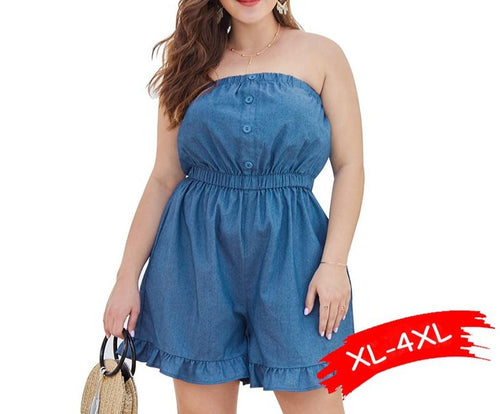 Plus Size  Denim Off Shoulder Ruffles Wide Leg Shorts Overalls