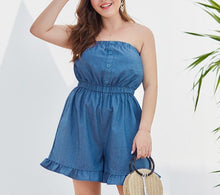 Load image into Gallery viewer, Plus Size  Denim Off Shoulder Ruffles Wide Leg Shorts Overalls
