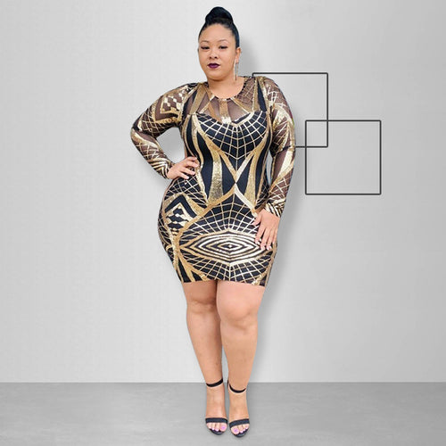 Plus Size Sequined Long Sleeve O Neck Geometric Dress