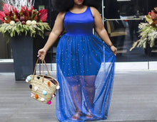 Load image into Gallery viewer, Plus Size Sleeveless O-Neck Maxi Long Blue Mesh Sheer Beading Dress
