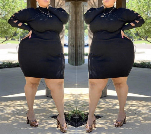 Plus Size Cut Out Long Sleeve O Neck Bodycon Dress