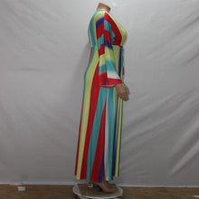 Load image into Gallery viewer, Plus Size Long Colorful Strip V-Neck Maxi Dress