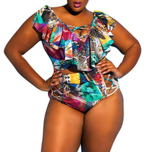 Load image into Gallery viewer, Plus Size Brazilian Floral Ruffle Swimsuit - kats closet1