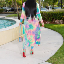 Load image into Gallery viewer, Plus Size Two Piece Tie Dye Print Long Cardigan Tops+Pants Set