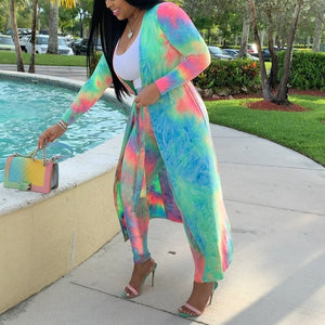 Plus Size Two Piece Tie Dye Print Long Cardigan Tops+Pants Set