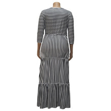 Load image into Gallery viewer, Plus Size White Black Striped Long Sleeve Ruffles Dress