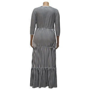 Plus Size White Black Striped Long Sleeve Ruffles Dress