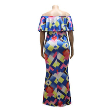 Load image into Gallery viewer, Plus Size Long Maxi Off Shoulder Ruffles Floor-Length Dress