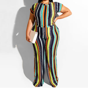 Plus Size Two Piece Striped  Print Crop Top And Long Pants Set