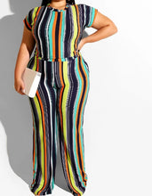 Load image into Gallery viewer, Plus Size Two Piece Striped  Print Crop Top And Long Pants Set