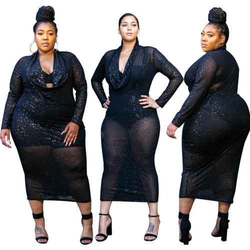 Plus Size Long Sleeve See Through Black Party Dress