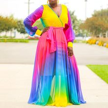 Load image into Gallery viewer, Plus Size Casual V Neck Color Block Elegant Loose Rainbow Long Sleeve Dress