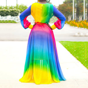 Plus Size Casual V Neck Color Block Elegant Loose Rainbow Long Sleeve Dress