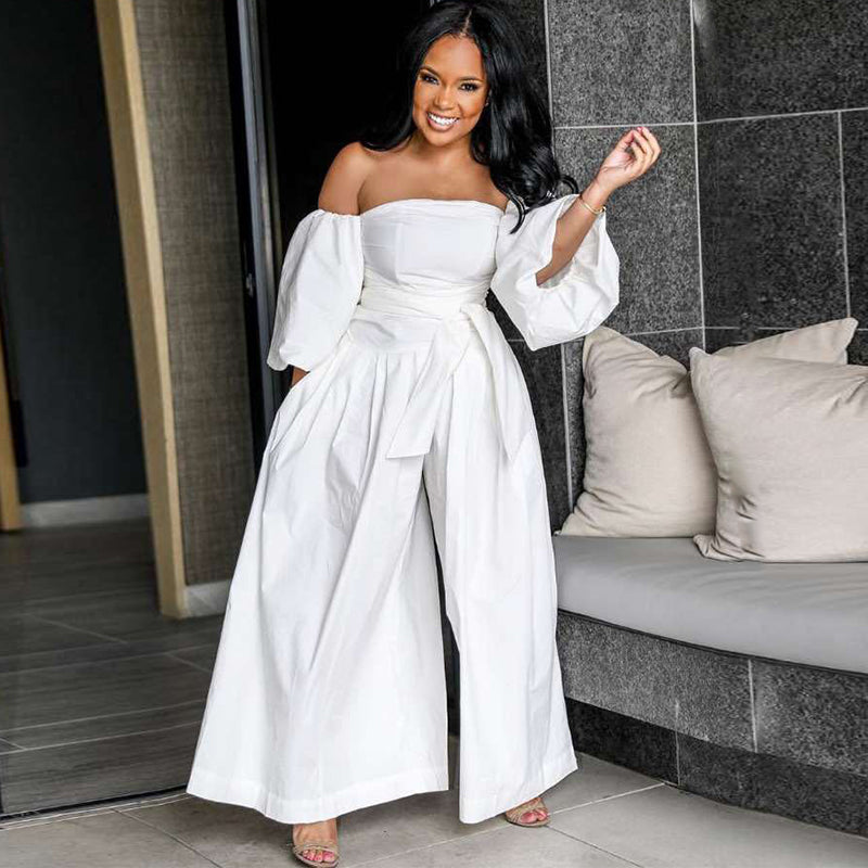 Casual Slash Neck Puff Sleeve Wide Leg Off Shoulder Backless Loose Jumpsuit