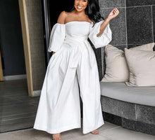 Load image into Gallery viewer, Casual Slash Neck Puff Sleeve Wide Leg Off Shoulder Backless Loose Jumpsuit