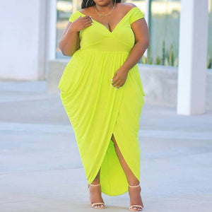 Plus Size Short Sleeve Floor-Length High Waist Green Dress