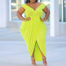 Load image into Gallery viewer, Plus Size Short Sleeve Floor-Length High Waist Green Dress