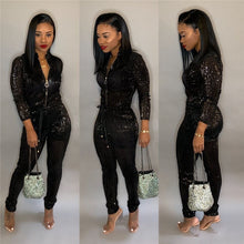 Load image into Gallery viewer, Glitter Long Sleeve Zipper Drawstring High Waist Bodycon Jumpsuit