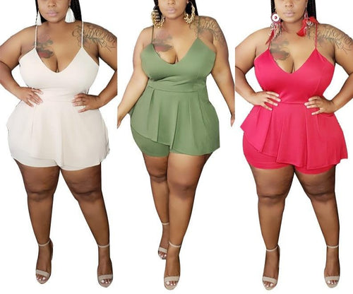 Plus Size Sleeveless V-Neck One Piece Romper/Bodysuit