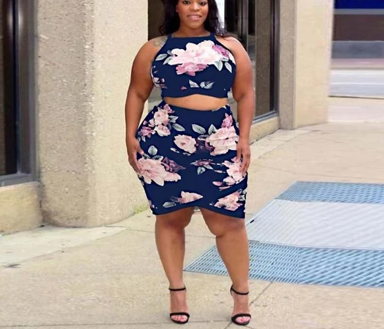 Plus Size Floral Print Spaghetti Strap Casual Knee Length Dress