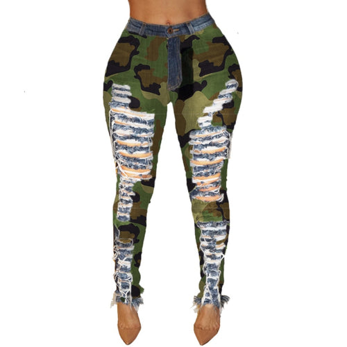 High Waist Ripped Hole Pencil Camouflage Jeans