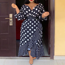Load image into Gallery viewer, Plus Size Vintage Black Casual Long High Waist Polka Dots Dress