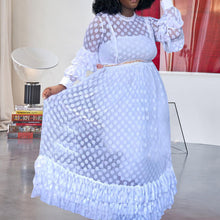 Load image into Gallery viewer, Plus Size Long Casual Ruffle Long Sleeve Mesh Polka Dot  Dress