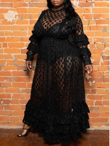Plus Size Long Casual Ruffle Long Sleeve Mesh Polka Dot  Dress