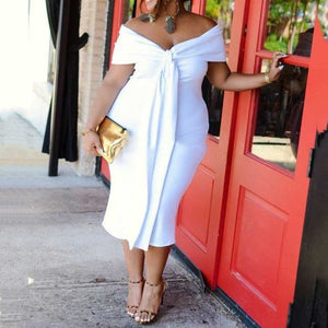Plus Size White VNeck Bodycon Off Shoulder Backless  Dress