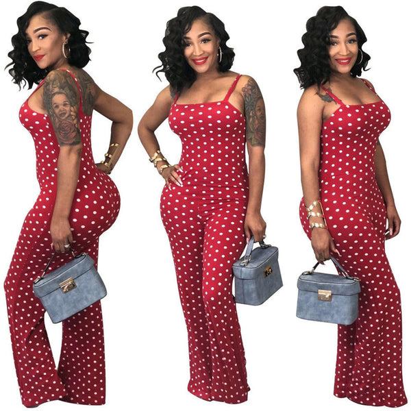Polka Dot Sleeveless Strapless Long Jumpsuit