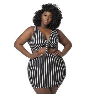 Plus Size Striped Crop Top Mini Skirt 2 Piece Skirt Set Two Piece Skirt Set