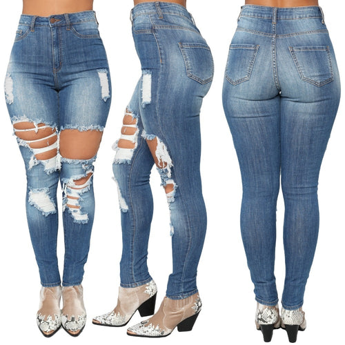 Plus Size Skinny Denim Holes Destroyed Ripped  Knee Jeans