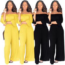 Load image into Gallery viewer, Casual Loose Slash Neck Three Quarter Flare Sleeve Wide Leg Jumpsuit