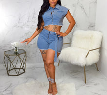 Load image into Gallery viewer, Two Piece Denim Crop Top and Shorts Set
